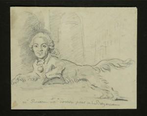 """Fragonard, """"Chien à tête d'homme, bondissant"""", caricature de Monsieur Rousset. © DR."""